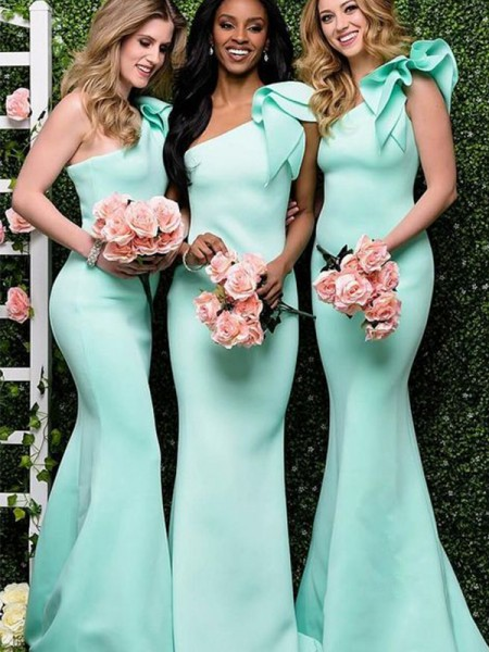 Trumpet/Mermaid Satin One-Shoulder Sleeveless Floor-Length Bridesmaid Dresses