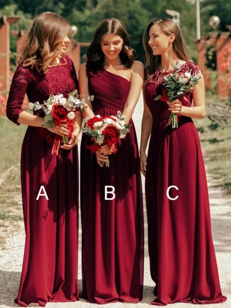 A-Line/Princess Chiffon Ruffles Scoop Floor-Length Bridesmaid Dresses