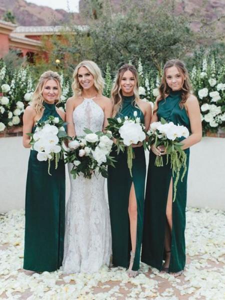 Sheath/Column Halter Satin Ruched Sleeveless Floor-Length Bridesmaid Dresses