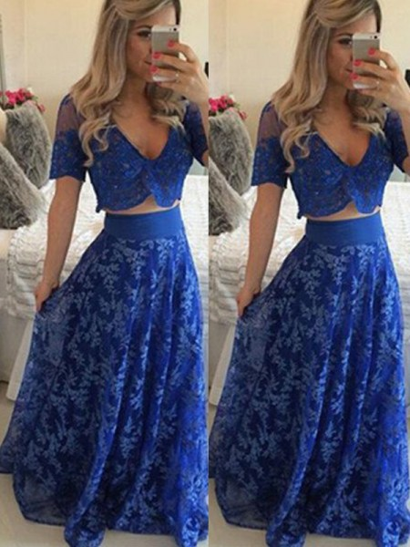 A-Line/Princess V-neck Short Sleeves Floor-Length Lace Two Piece Dresses