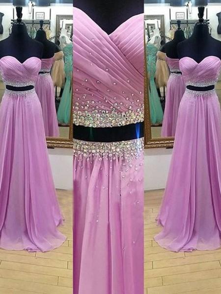 A-Line/Princess Sweetheart Sleeveless Floor-Length Beading Chiffon Two Piece Dresses