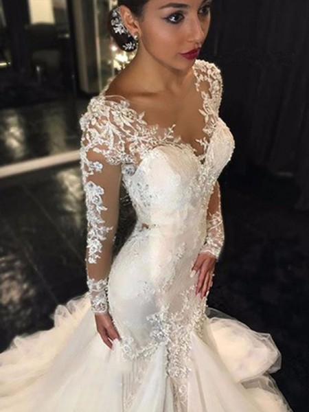 3b71bbf6963f Trumpet/Mermaid V-neck Long Sleeves Lace Court Train Tulle Wedding Dresses
