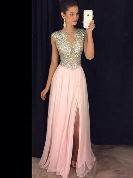 A-Line/Princess Sleeveless Bateau Chiffon Sequin Floor-Length Dresses
