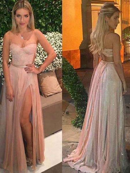 A-Line/Princess Sweetheart Sleeveless Floor-Length Lace Chiffon Dresses