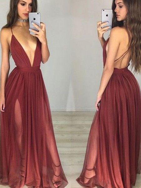 A-Line/Princess Sleeveless Spaghetti Straps Chiffon Floor-Length Ruched Dresses
