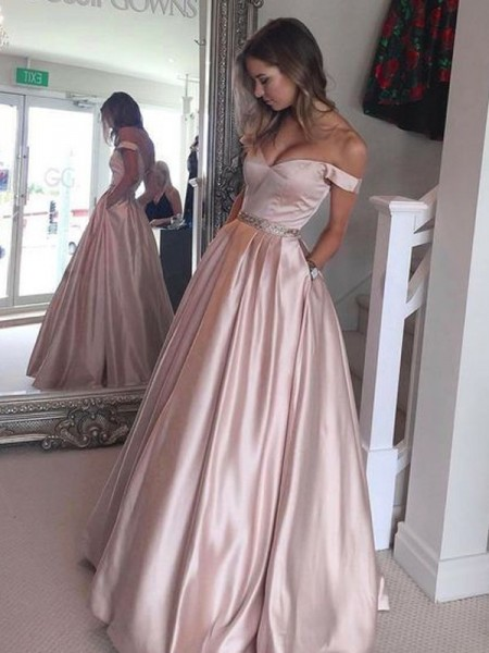 A-Line/Princess Off-the-Shoulder Sleeveless Floor-Length Satin Dresses