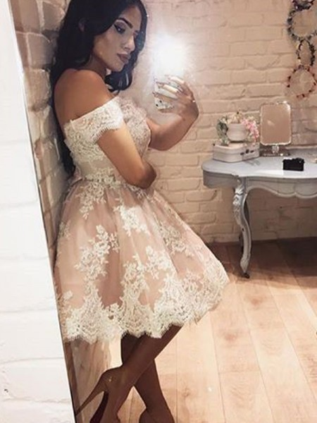 A-Line/Princess Sleeveless Off-the-Shoulder Lace Short/Mini Dresses