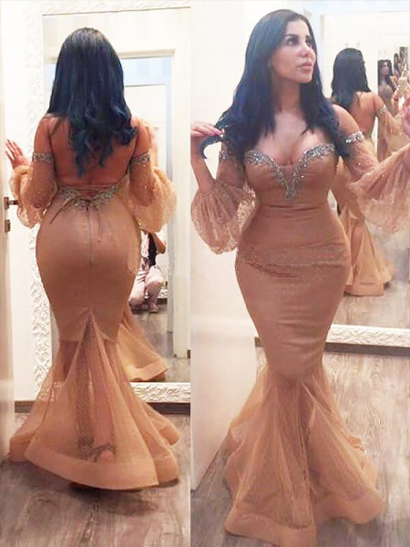 Trumpet/Mermaid 3/4 Sleeves Silk like Satin Off-the-shoulder Beading Floor-Length Plus Size Dresses