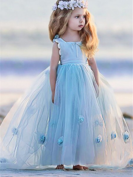 Ball Gown Bateau Sleeveless Hand-Made Flower Floor-Length Tulle Flower Girl Dresses