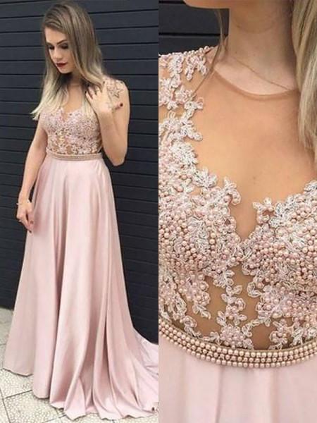A-Line/Princess Sleeveless V-neck Satin Lace Floor-Length Dresses