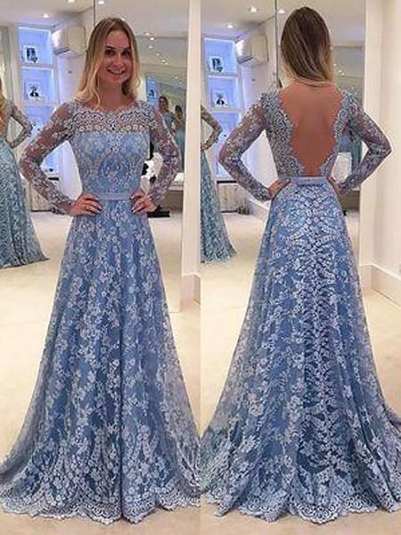 A-Line/Princess Long Sleeves Lace Floor-Length Bateau Ruffles Dresses