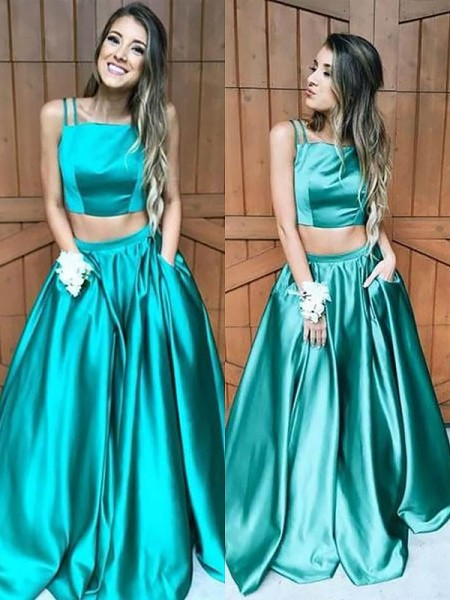 A-Line/Princess Sleeveless Square Floor-Length Ruffles Satin Two Piece Dresses