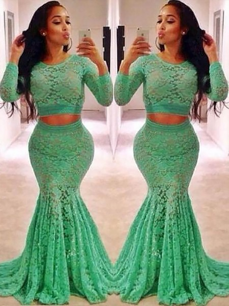 Trumpet/Mermaid Scoop Long Sleeves Lace Ruffles Sweep/Brush Train Two Piece Dresses
