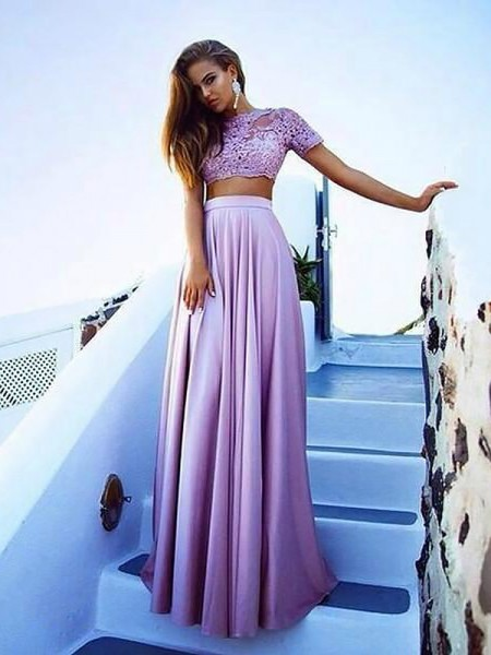 A-Line/Princess Bateau Short Sleeves Satin Floor-Length Lace Two Piece Dresses