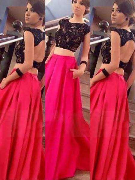 A-Line/Princess Bateau Sleeveless Satin Floor-Length Lace Two Piece Dresses
