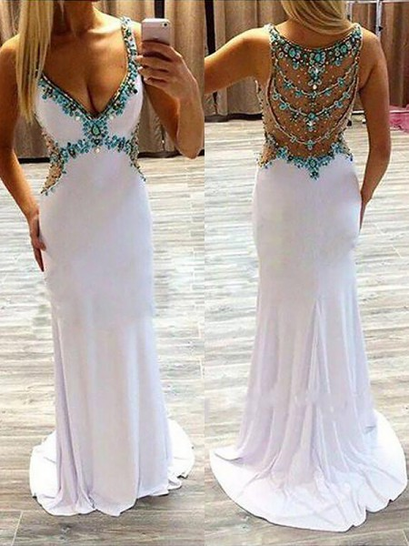 A-Line/Princess V-Neck Sleeveless Sweep/Brush Train Beading Spandex Dresses