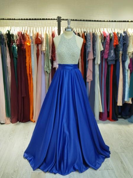 Ball Gown Sleeveless Jewel Crystal Satin Floor-Length Dresses