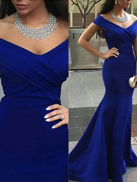Trumpet/Mermaid Off-the-Shoulder Sleeveless Satin Sweep/Brush Train Dresses