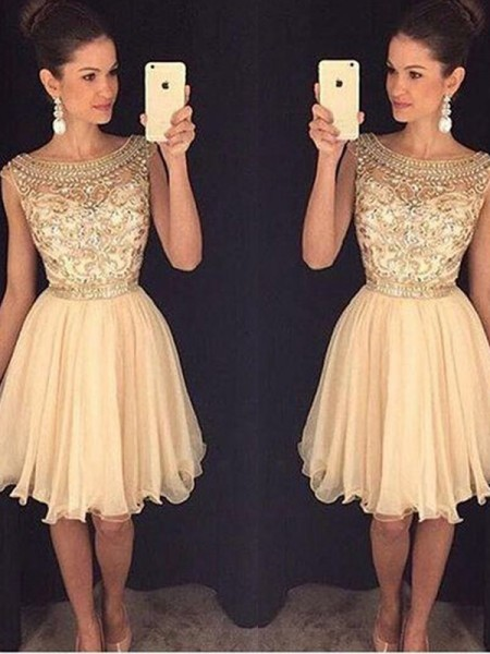 A-Line/Princess Scoop Sleeveless Short/Mini Beading Chiffon Dresses