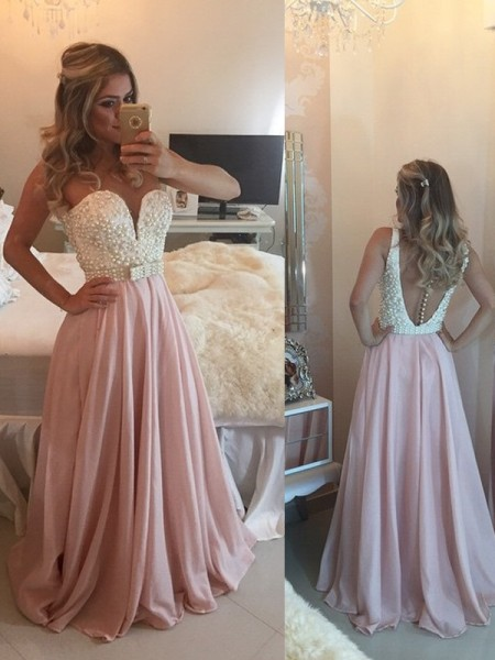 A-Line/Princess Sweetheart Sleeveless Pearls Floor-Length Chiffon Dresses