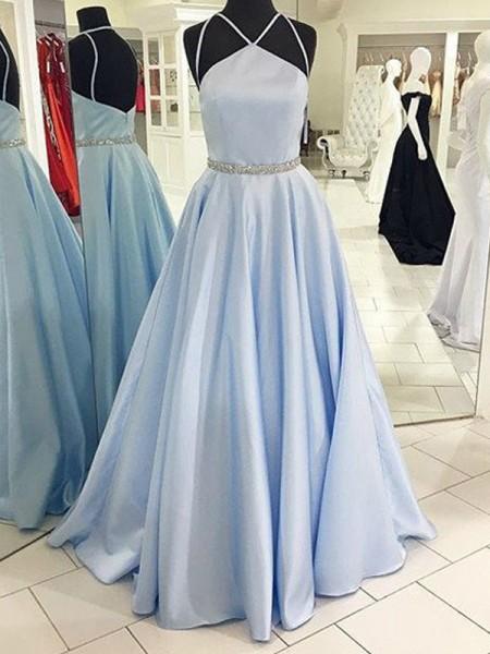 A-Line/Princess Halter Sleeveless Floor-Length Satin Dresses