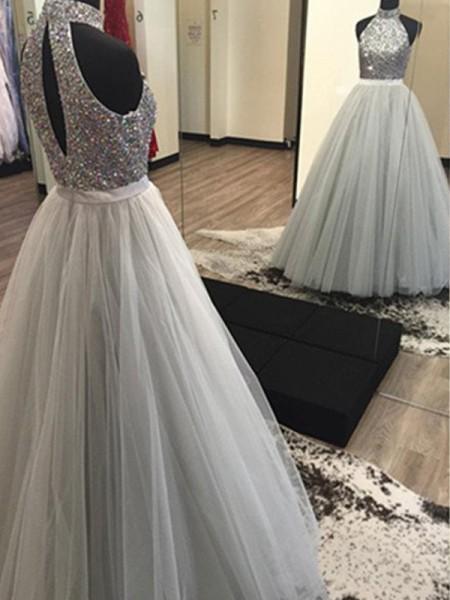 A-Line/Princess Halter Sleeveless Floor-Length Beading Tulle Dresses