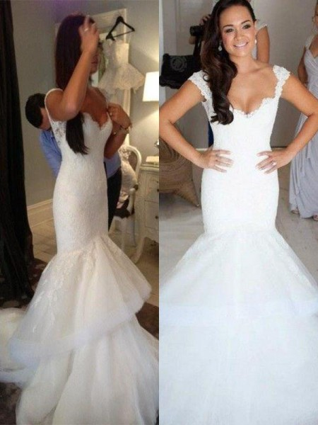 Trumpet/Mermaid Sleeveless Organza Straps Chapel Train Wedding Dresses