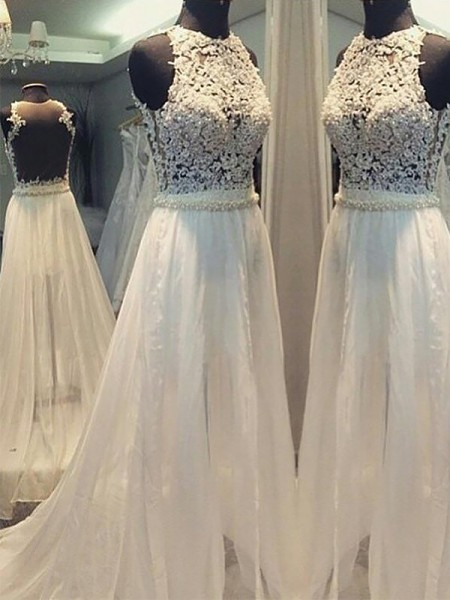 A-Line/Princess Sweep/Brush Train Chiffon Scoop Sleeveless Wedding Dresses