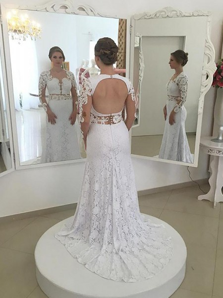 Sheath/Column Lace Long Sleeves Scoop Sweep/Brush Train Wedding Dresses
