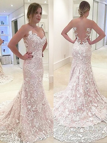 Trumpet/Mermaid Lace Sleeveless Sweetheart Sweep/Brush Train Wedding Dresses