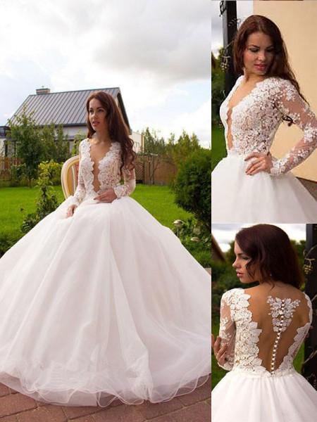 Ball Gown V-neck Tulle Long Sleeves Court Train Wedding Dresses