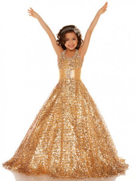 A-line/Princess Halter Sleeveless Sequin Long Sequins Flower Girl Dresses