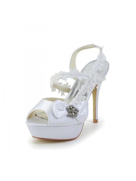 Women's Satin Peep Toe Stiletto Heel White Shoes With Wedding Bowknot