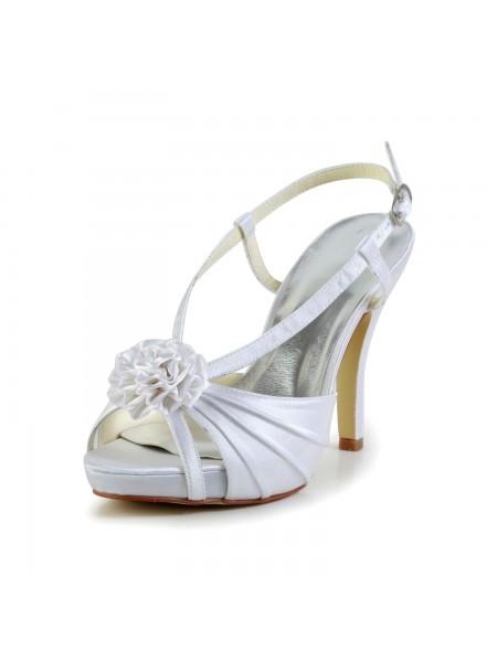 Women's Satin Stiletto Heel Peep Toe Platform White Wedding Shoes With Buckle