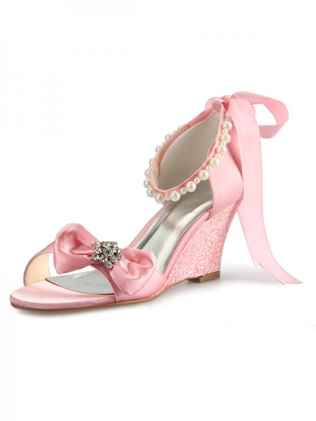 Women's Satin Wedge Heel Peep Toe With Rhinestone Pearl Bowknot Pink Wedding Shoes