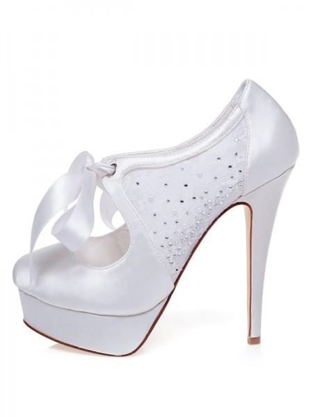 Women's Satin Closed Toe Stiletto Heel Silk Wedding Shoes