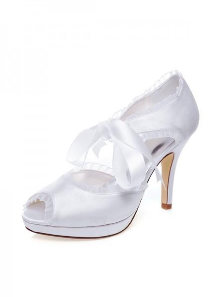 Women's Satin Peep Toe Silk Stiletto Heel Wedding Shoes