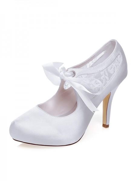 Women's Satin Closed Toe Silk Stiletto Heel Wedding Shoes