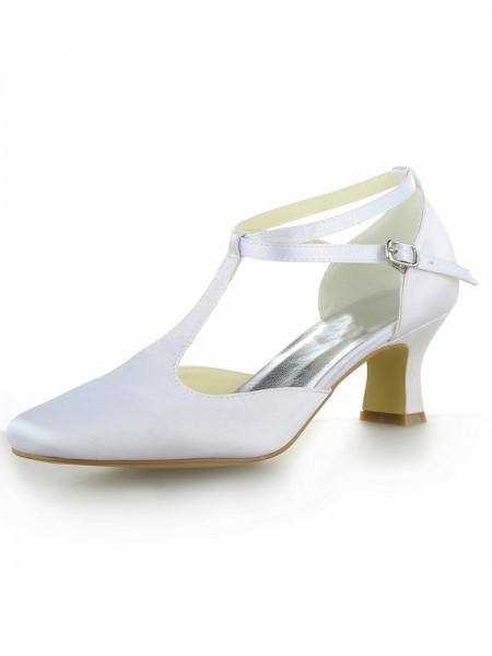Women's White Satin Closed Toe Chunky Heel With Buckle High Heels