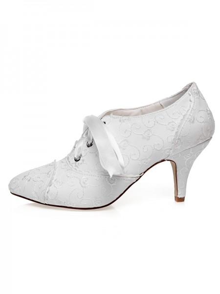 Women's Satin Closed Toe Silk Cone Heel Wedding Shoes