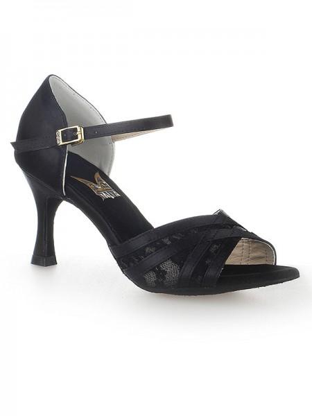 Women's Peep Toe Stiletto Heel Satin Buckle Dance Shoes