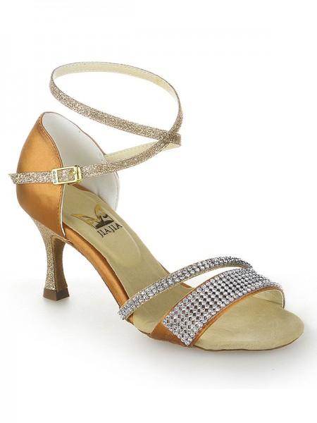 Women's Stiletto Heel Peep Toe Satin Buckle Dance Shoes