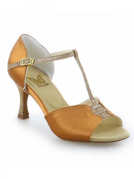 Women's Stiletto Heel Buckle Peep Toe Satin Dance Shoes