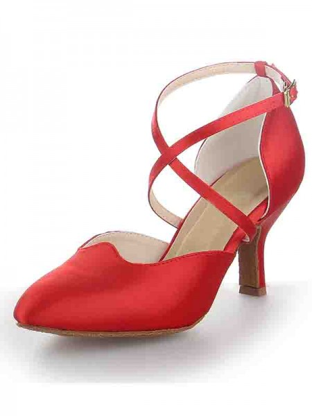 Women's Satin Stiletto Heel Close Toe Buckle Dance Shoes