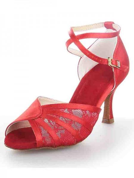 Women's Stiletto Heel Satin Peep Toe Buckle Dance Shoes