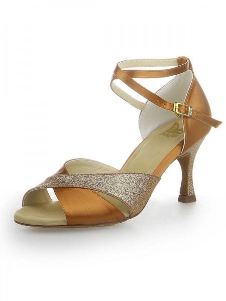 Women's Peep Toe Sparkling Glitter Satin Stiletto Heel Dance Shoes