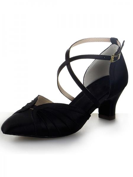 Women's Closed Toe Satin Chunky Heel Buckle Dance Shoes