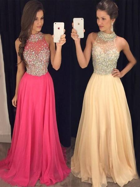 A-Line/Princess Halter Sleeveless Floor-Length Beading Chiffon Dresses