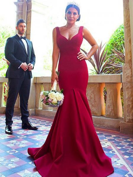 Trumpet/Mermaid V-neck Sleeveless Sweep/Brush Train Ruffles Elastic Woven Satin Bridesmaid Dresses