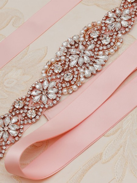 Exquisite Satin Sashes With Rhinestones/Imitation Pearls